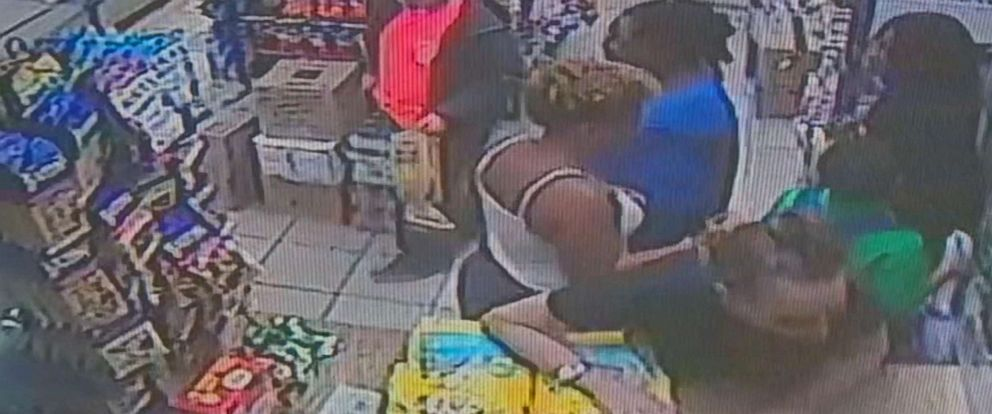 PHOTO: Surveillance video captures the moment 9-year-old Jeremiah Harvey passing by Teresa Klein in a bodega in Flatbush, Brooklyn, Oct. 16, 2018.