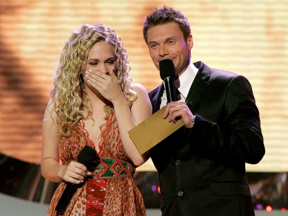 PHOTO: Singer Carrie Underwood is named the new American Idol by host Ryan Seacrest during the American Idol Finale at the Kodak Theatre, May 25, 2005, in Hollywood, Calif.