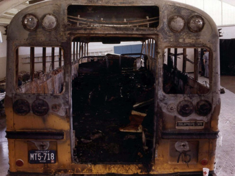PHOTO: This May 17, 1988 file photo shows the hull of the bus that claimed the lives of 27 victims in a head-on collision with a pickup truck at a Kentucky National Guard Armory in Carrollton, Ky.