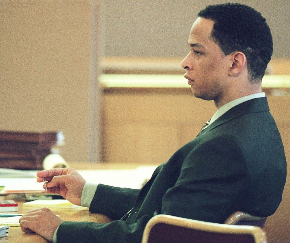 PHOTO: Former Carolina Panthers football player Rae Carruth sitting at the defense table during his trial in Charlotte, N.C., Jan. 3, 2001.