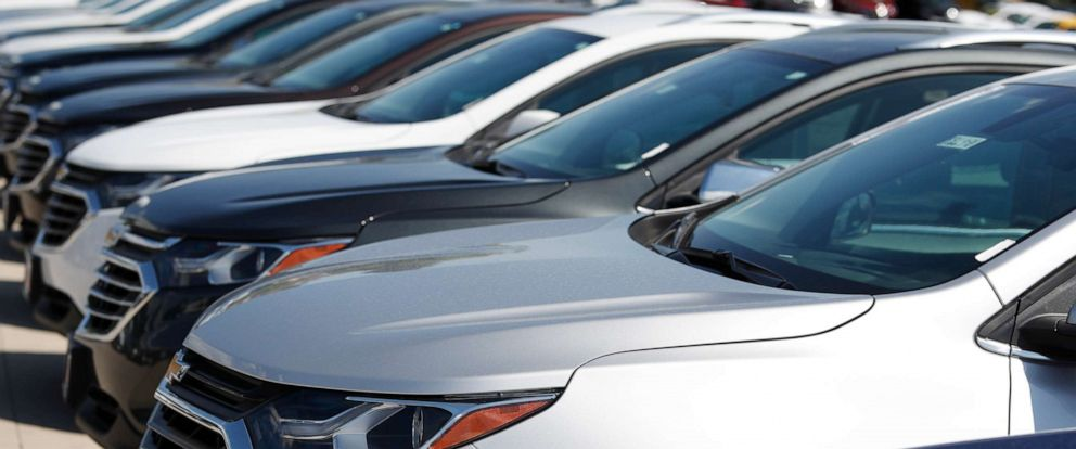 PHOTO: In this Sunday, July 28, 2019, file photograph, unsold 2019 Chevrolet Equinox sports utility vehicles sit at a dealership in Englewood, Colo.