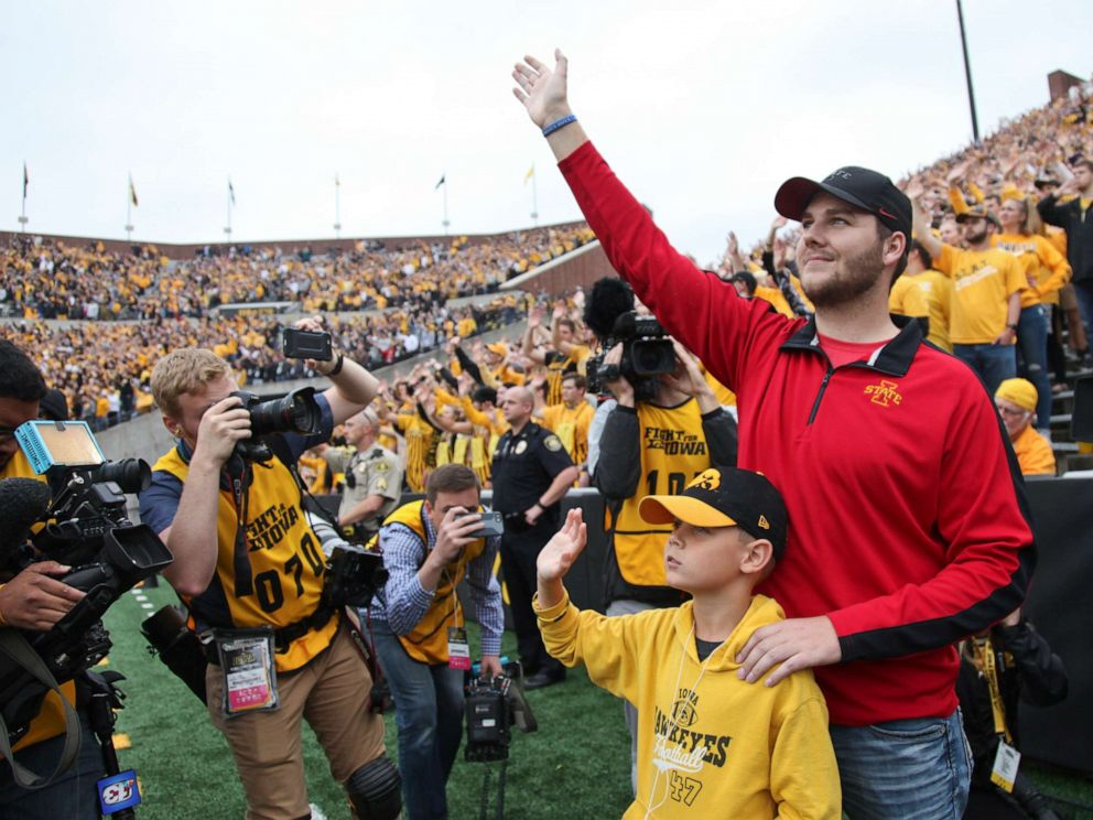 PHOTO: Carson King of Altoona, Iowa, waves to patients in the University of Iowa Stead Family Childrens Hospital at the end of the first quarter of the game between the Iowa Hawkeyes and Middle Tennessee Blue Raiders Sept. 28, 2019, in Iowa City, Iowa.