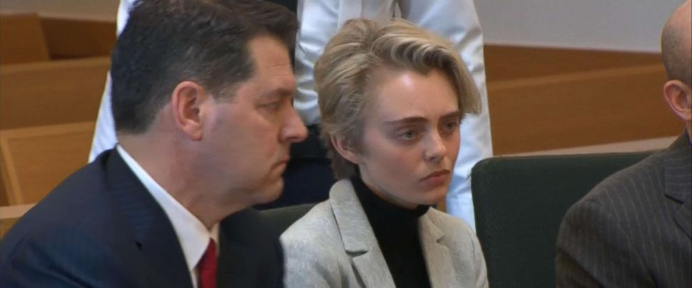 PHOTO: Michelle Carter at her court hearing before being taken into custody, Feb. 11, 2019, in Taunton, Mass.
