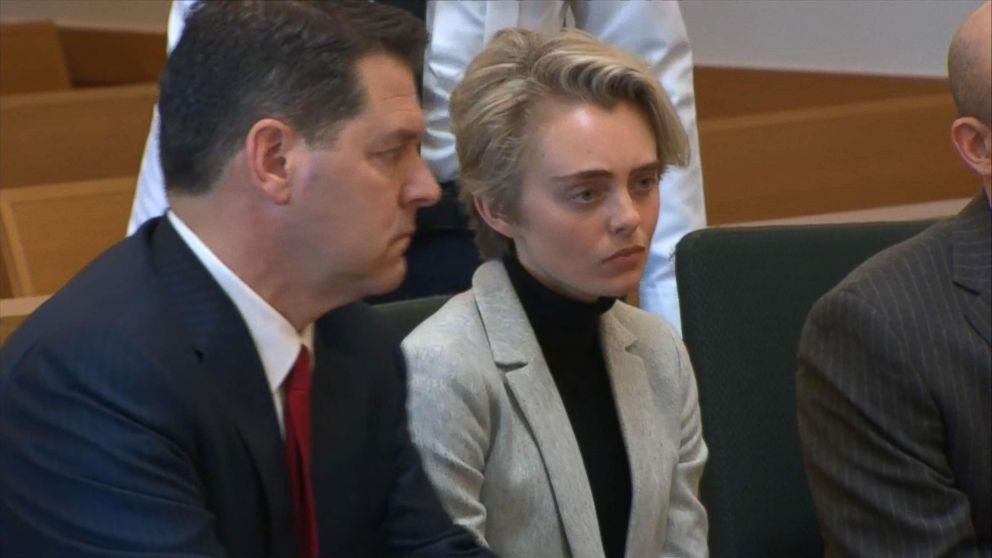 Michelle Carter at her court hearing before being taken into custody, Feb. 11, 2019, in Taunton, Mass.