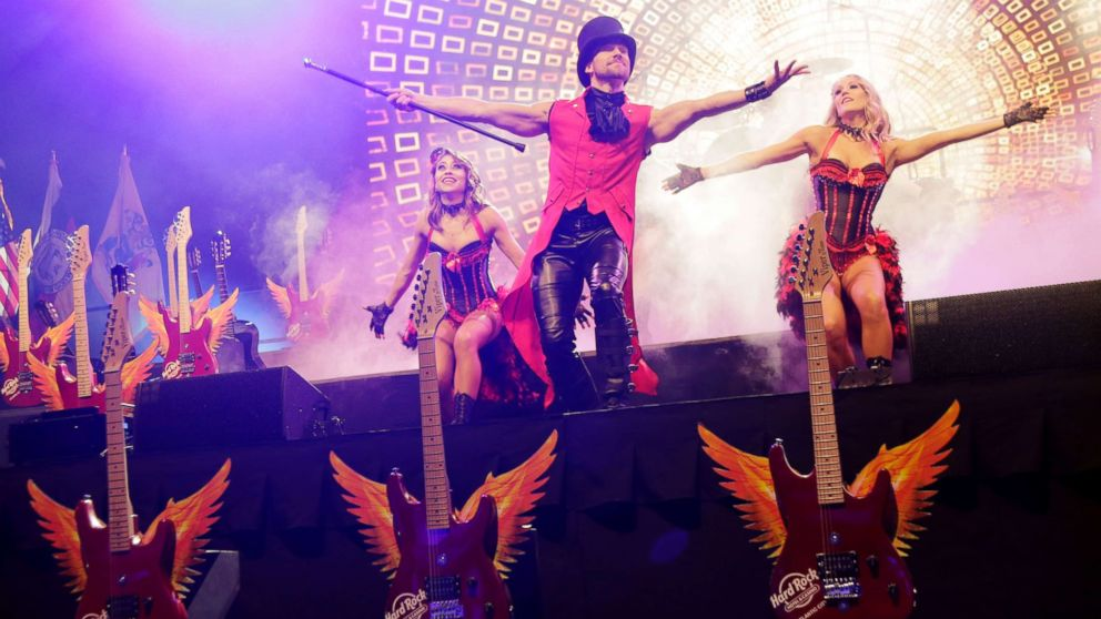Performers dance on stage during the grand opening celebration at the Hard Rock Hotel and Casino in Atlantic City, N.J., June 28, 2018.