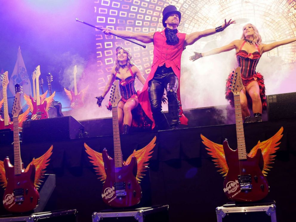 PHOTO: Performers dance on stage during the grand opening celebration at the Hard Rock Hotel and Casino in Atlantic City, N.J., June 28, 2018.