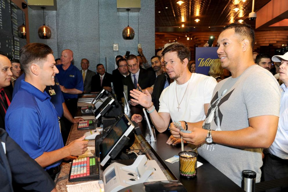 PHOTO: Mark Wahlberg places the ceremonial first bet at William Hill Sports Book on June 28, 2018, in Atlantic City, New Jersey.