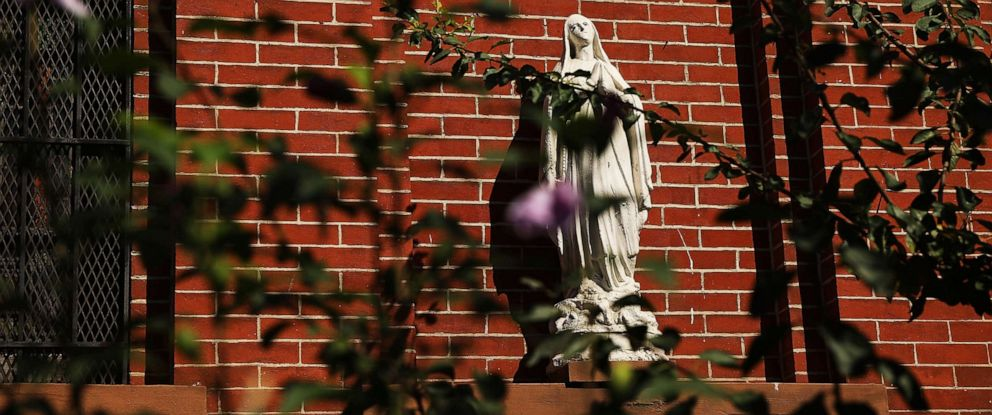 PHOTO: A statue of Mary of Nazareth is displayed outside of St. Lucys-St. Patricks Church in Brooklyn, Sept. 19, 2018.