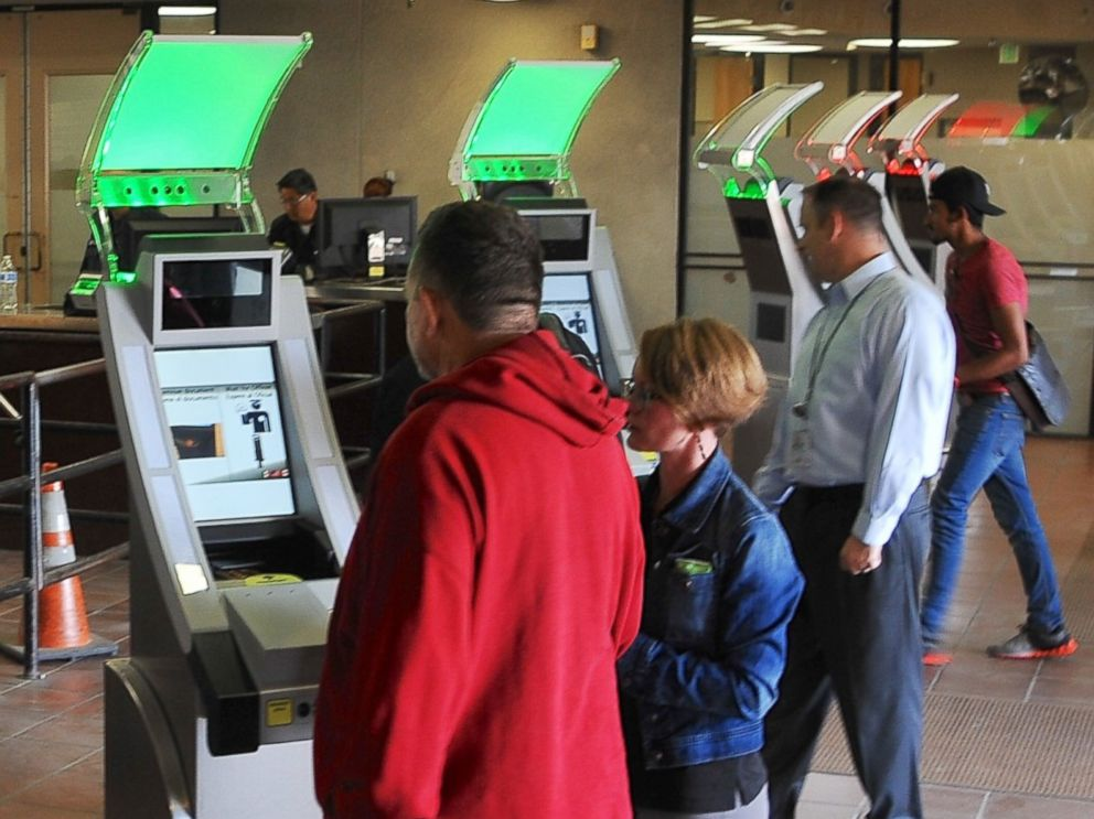PHOTO: U.S. Customs and Border Protection test new biometric technologies with face and iris cameras at the Otay Mesa border pedestrian crossing in San Diego, Calif. on Dec. 10, 2015.