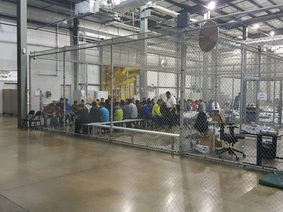 PHOTO: People sit in a cell at the U.S. Customs and Border Protection agencys Rio Grande Valley Centralized Processing Center in McAllen, Texas, June 17, 2018.