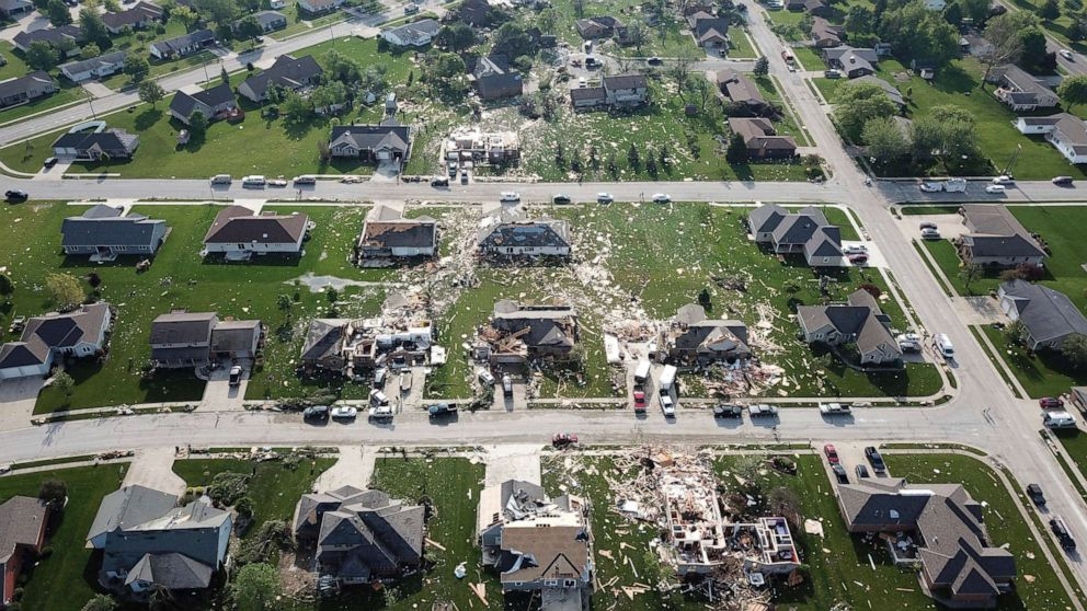 PHOTO: Damaged homes and debris mark the path of a tornado that struck Celina, Ohio, as seen from the air, May 28, 2019.
