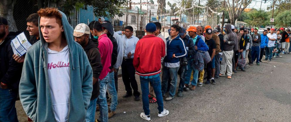 PHOTO: Central American migrants line up for food at a shelter in Playas de Tijuana, Mexico, Nov. 15, 2018.