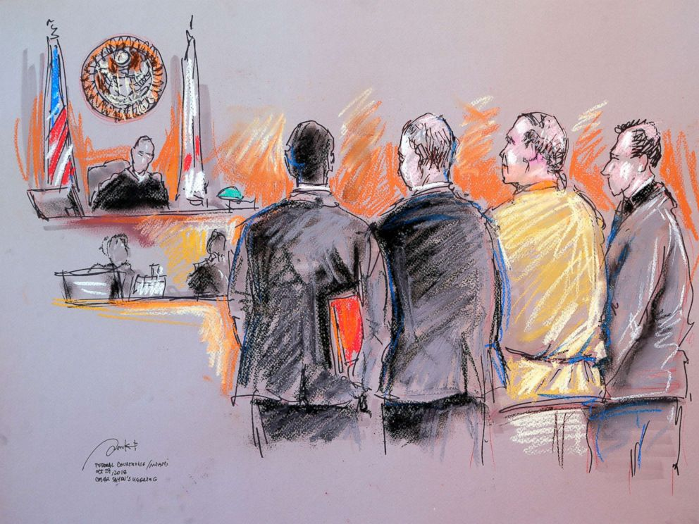 PHOTO: In this courtroom sketch, Cesar Sayoc, second from right, appears in federal court, Monday, Oct. 29, 2018, in Miami.