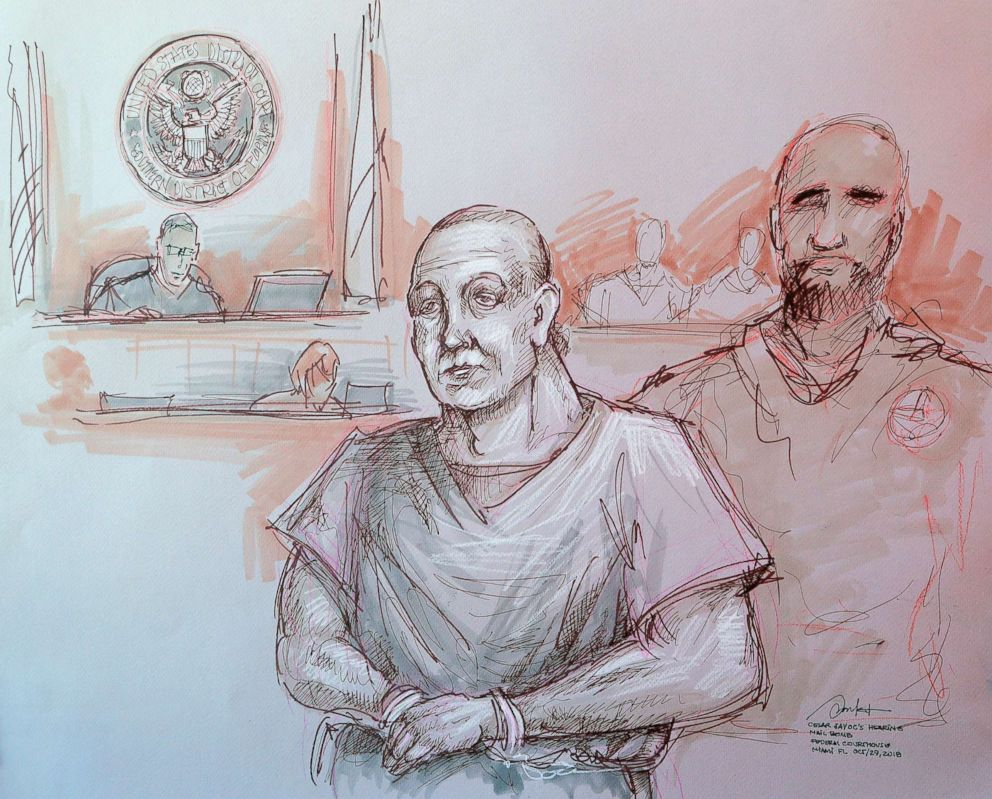 PHOTO: In this courtroom sketch, Cesar Sayoc, left, appears in federal court, Oct. 29, 2018, in Miami.
