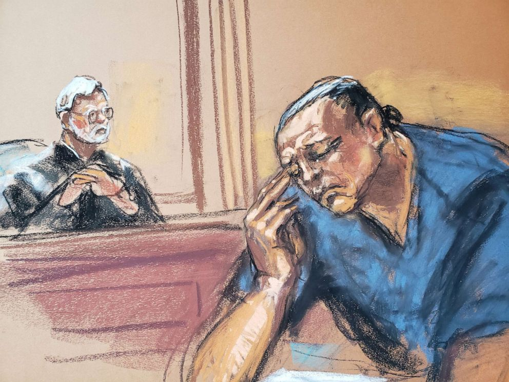 PHOTO: Cesar Sayoc, 57, is shown in this courtroom sketch as he enters his plea in Manhattan federal court, on charges in connection with the mailing of bombs to prominent Democrats and other critics of President Trump, in New York, March 21, 2019.