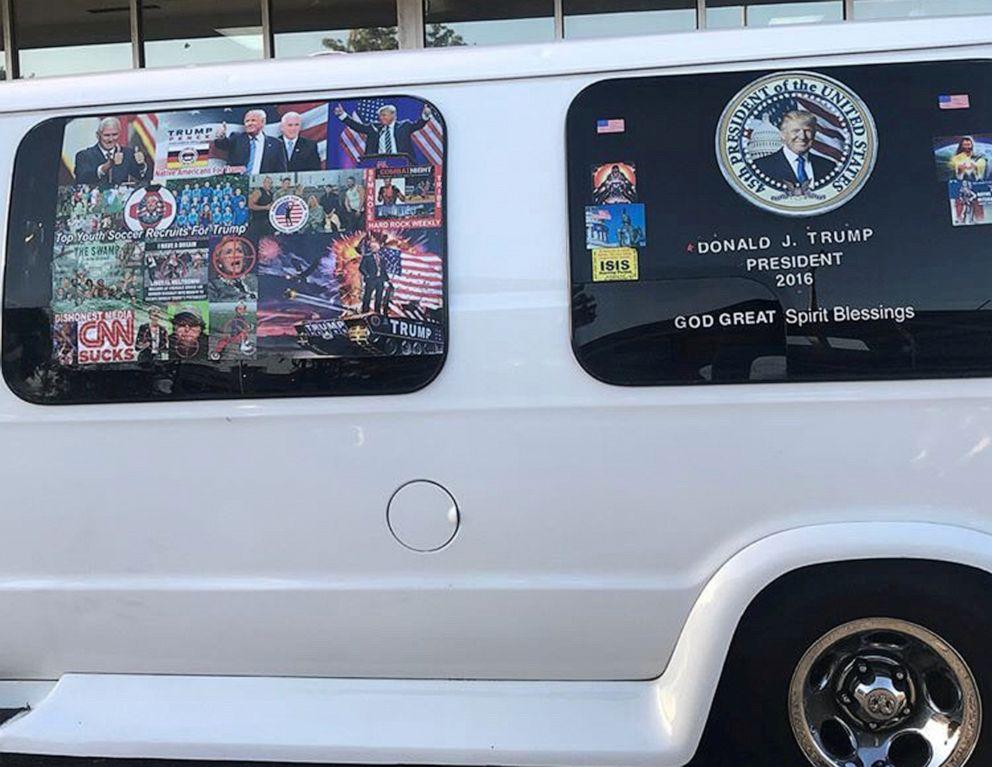 PHOTO: Mail bombing suspect Cesar Sayocs van is seen in Hollywood, Fla., April 6, 2018.