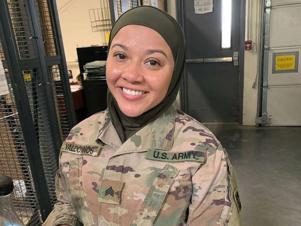 PHOTO: Spc. Cesilia Valdovinos, pictured in an undated handout photo, is considering legal options in reference to harassment she says she has faced over her religion.