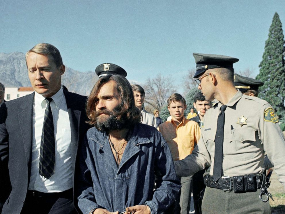 PHOTO: Charles Manson, leader of a cult linked to the Sharon Tate murders, is escorted from jail to the courtroom at Independence, Calif., Dec. 3, 1969.