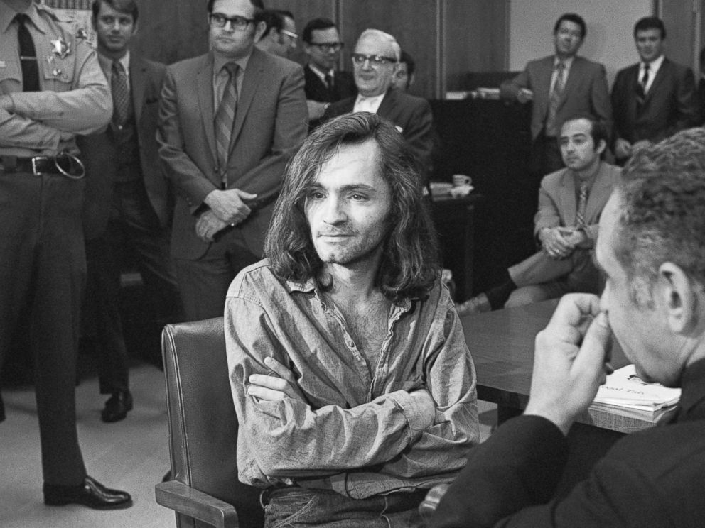 PHOTO: I Dont Have Any Guilt said long-haired hippie chieftain Charles Manson, 35, in brief press conference in courtroom here, June 18, 1970, where a hearing to continue proceedings in the murder case of musician Dary Hinman was held.