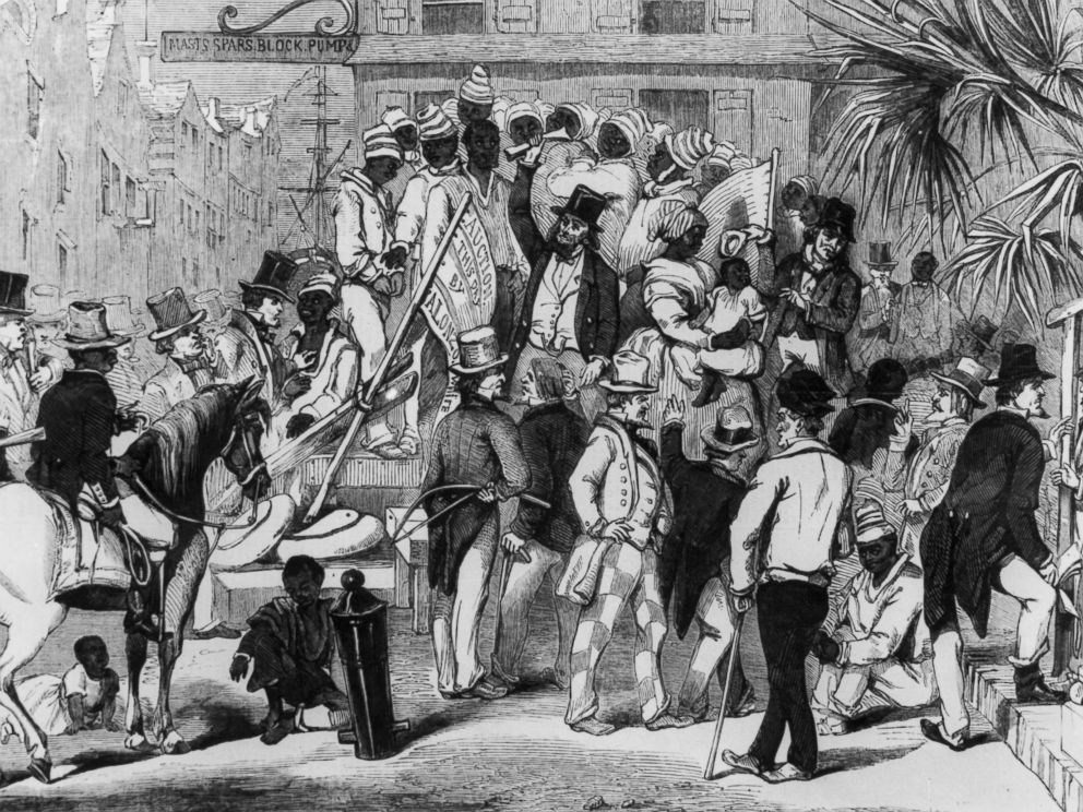 PHOTO: An engraving shows slaves being sold at auction in Charleston, S.C., circa 1860.