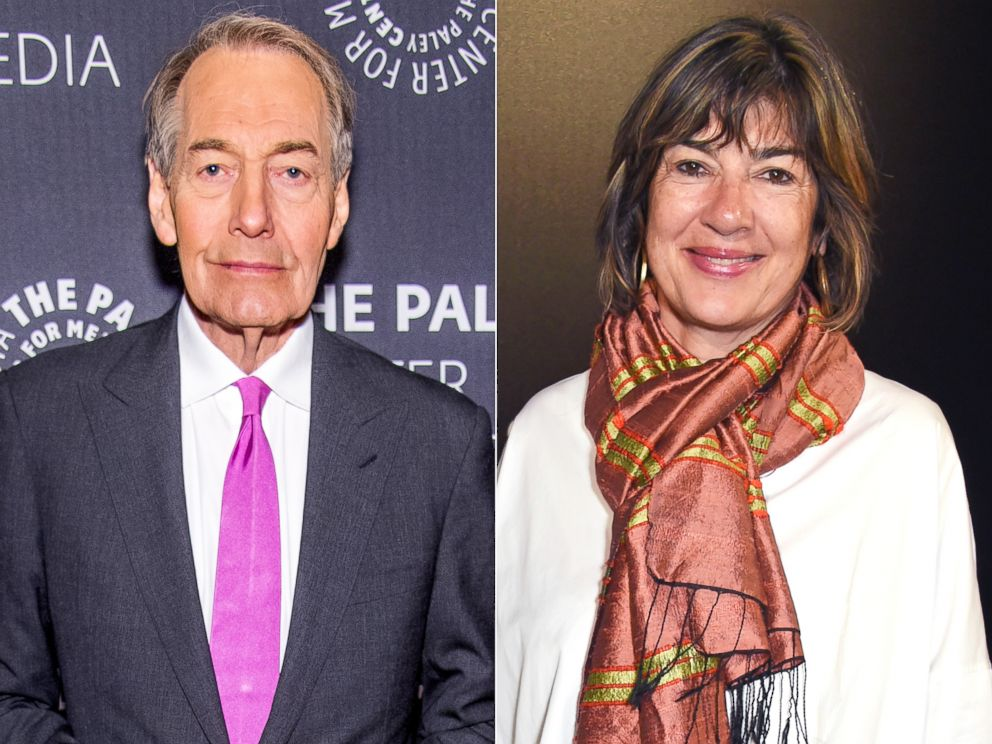 PHOTO: Charlie Rose attends an event, Nov. 1, 2017 in New York City and Christiane Amanpour attends a fashion week show, Sept. 18, 2016 in London.