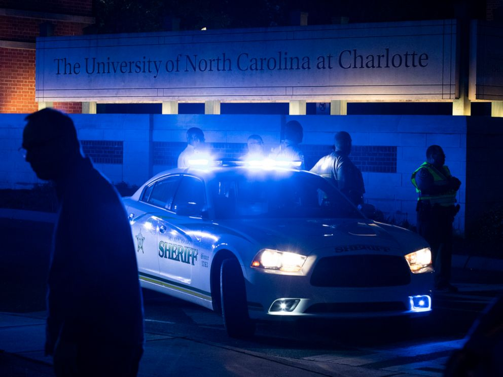 PHOTO: Police secure the main entrance to UNC Charlotte after a fatal shooting at the school, Tuesday, April 30, 2019, in Charlotte, N.C.