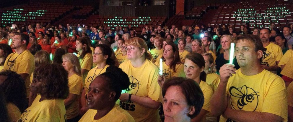 PHOTO: More than 700 teachers and staff members from Charlottesville City Schools broke into song at a convocation for the new school year days after deadly protests struck their city.