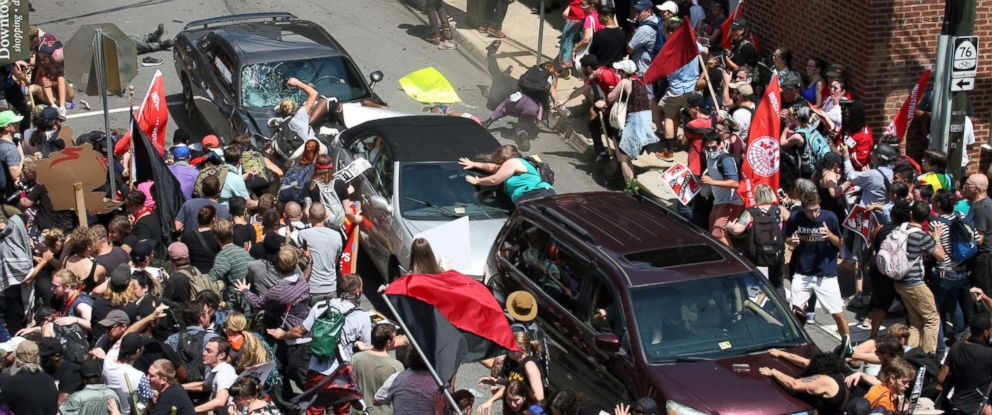 PHOTO: A gray car plows into pedestrians and vehicles, Aug. 12, 2017, in Charlottesville, Va.