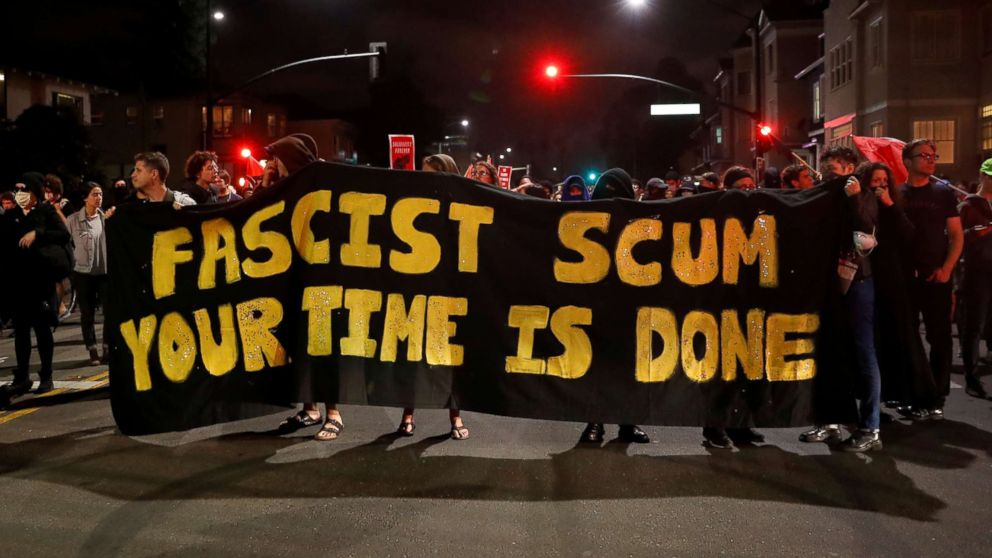 Demonstrators march in response in response to the Charlottesville, Virginia car attack on counter-protesters after the Unite the Right rally organized by white nationalists, in Oakland, Calif., Aug. 12, 2017.