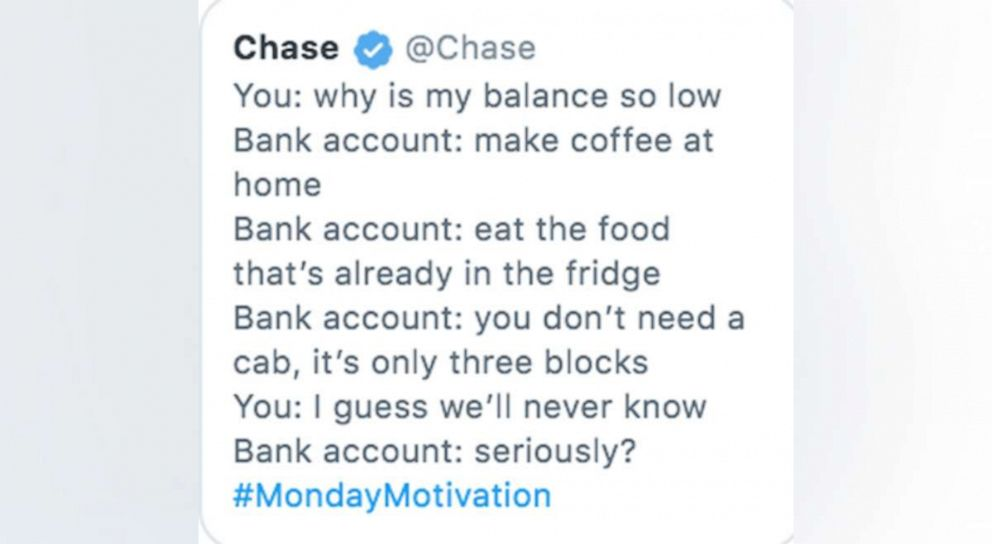 Chase faces backlash after 'Monday Motivation' tweet