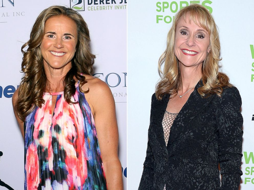 PHOTO: Brandi Chastain, left, Nancy Hogshead-Makar