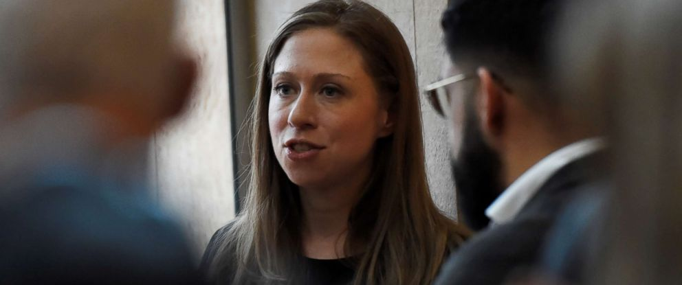 PHOTO: Chelsea Clinton speaks to people after the vigil held at NYU Kimmel Center to mourn for the victims of the Christchurch mosque attack in New Zealand, in New York City, March 15, 2019.