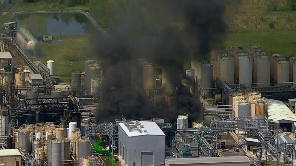 A chemical plant explosion in Crosby, Texas on April 2, 2019.