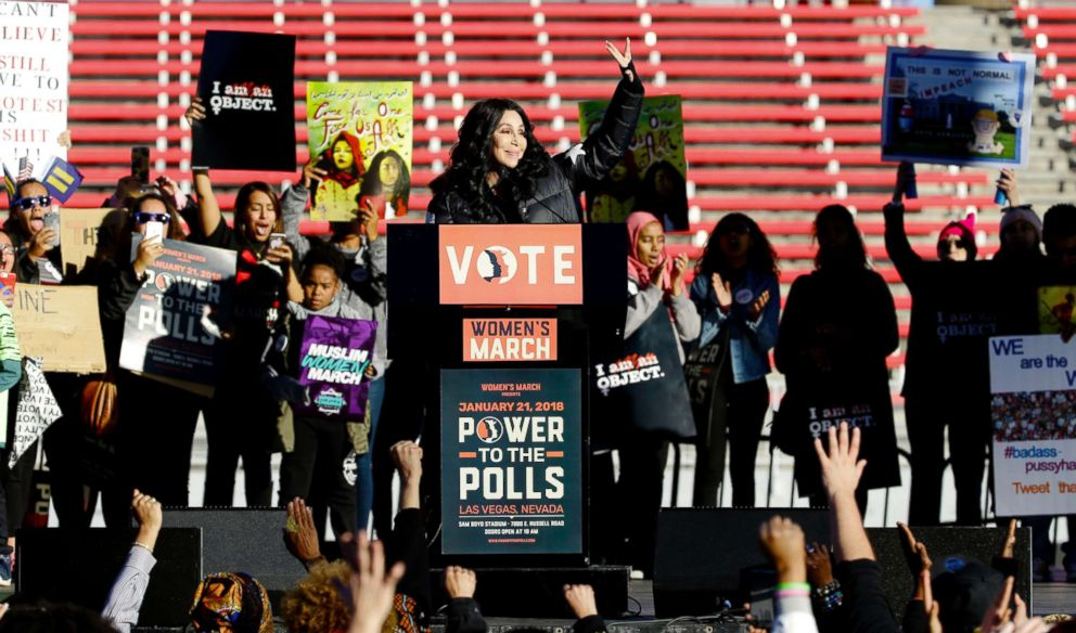 PHOTO: Cher addresses the Womens March: Power to the Polls event in Las Vegas, Jan 21, 2018.
