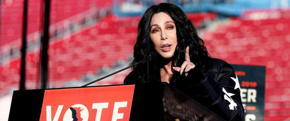 PHOTO: Cher speaks during the Womens March rally in Las Vegas, Jan. 21, 2018.