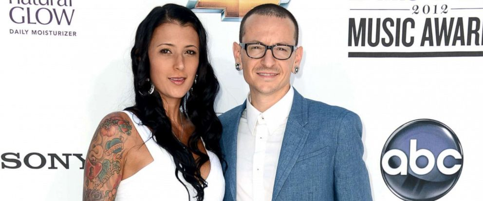 PHOTO: Musician Chester Bennington of Linkin Park and wife Talinda Ann Bentley arrive at the 2012 Billboard Music Awards held at the MGM Grand Garden Arena, May 20, 2012, in Las Vegas.