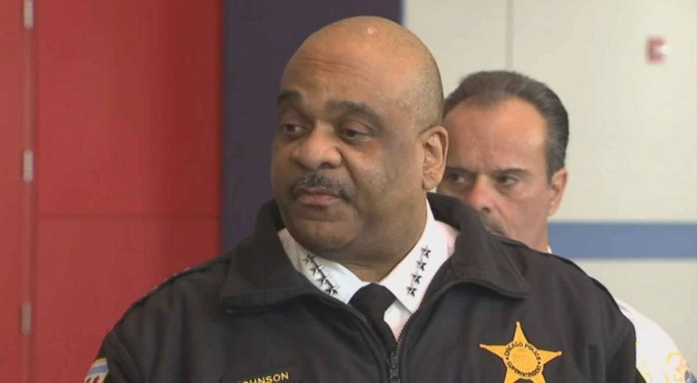 PHOTO: Chicago Police Superintendent Eddie Johnson speaks to reporters about a video threatening officers with gun violence that recently went viral.