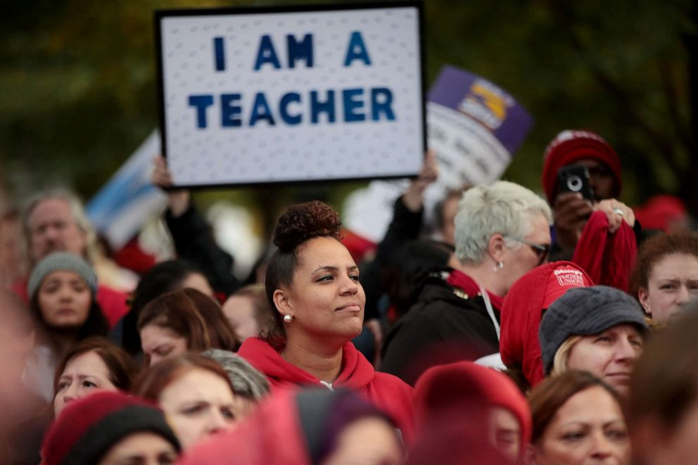 PHOTO: Striking Chicago public school teachers and their supporters rally in Union Park, Oct. 21, 2019, in Chicago.