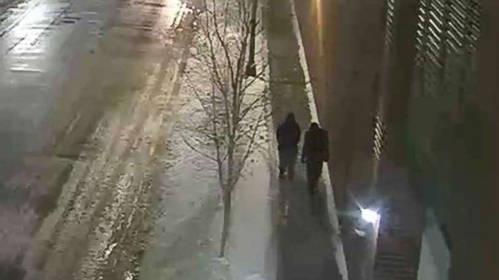 Chicago police are looking to identify and interview the two people pictured, who were walking in the area where Jussie Smollett said he was attacked.