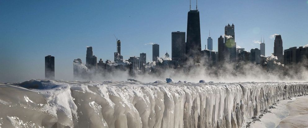 PHOTO: Ice covers the Lake Michigan shoreline on Jan. 30, 2019, in Chicago.