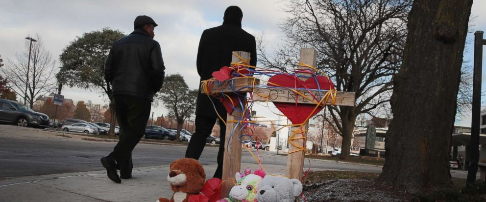 PHOTO: Crosses are placed outside of Mercy Hospital where four people were shot and killed, Nov. 20, 2018 in Chicago.