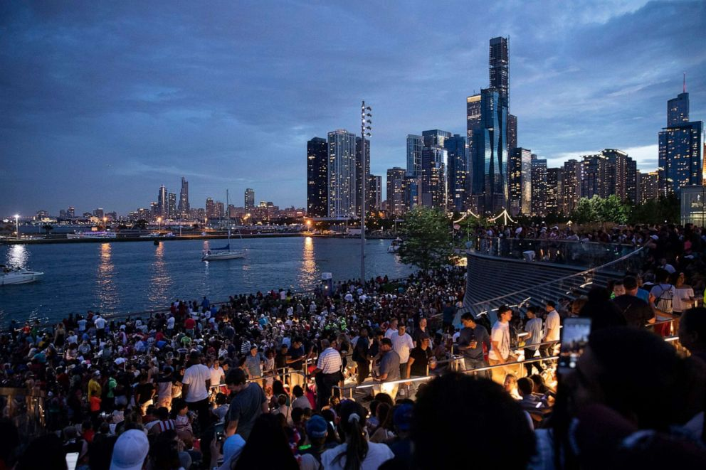 PHOTO: Thousands of people gather at Chicagos Navy Pier to celebrate and watch the 4th of July fireworks, July 4, 2019.