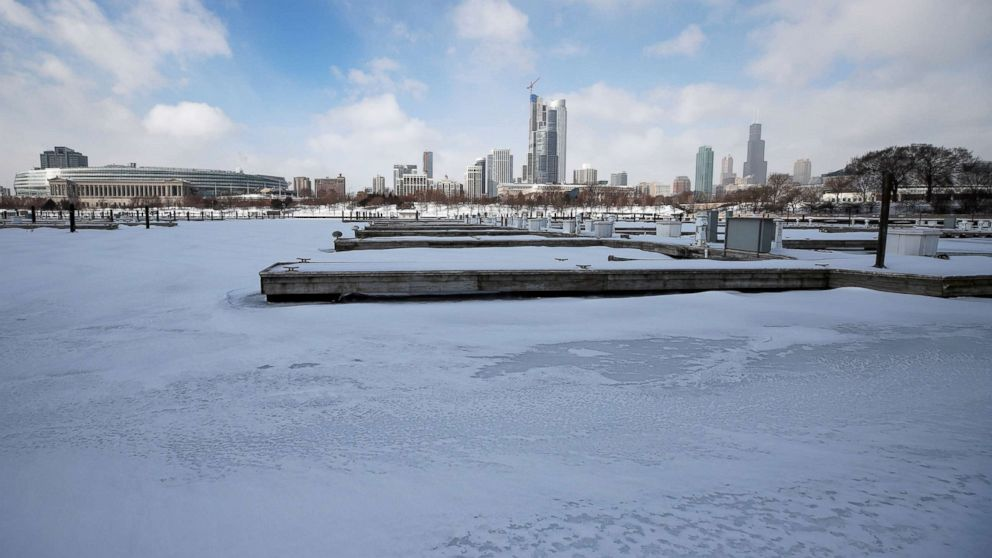 Judd Goldman Sailing Center is covered in snow and ice along Lake Michigan in Chicago, Jan. 29, 2019.