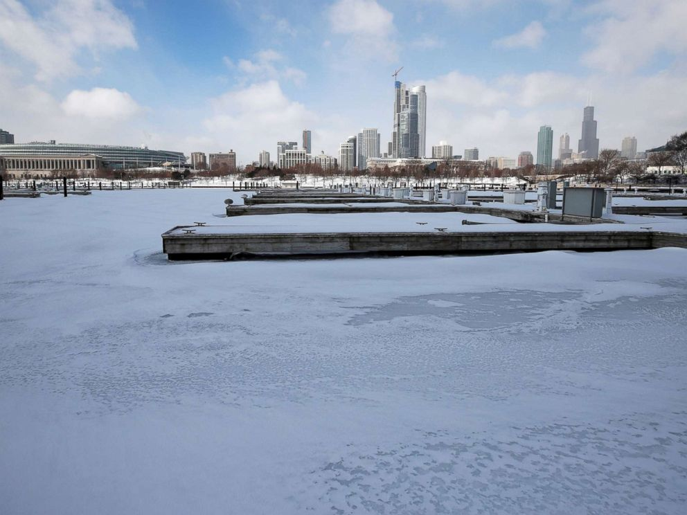 PHOTO: Judd Goldman Sailing Center is covered in snow and ice along Lake Michigan in Chicago, Jan. 29, 2019.