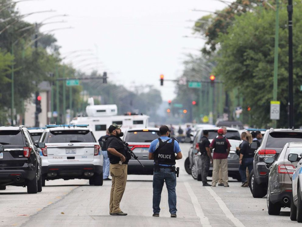 PHOTO: Police search for a suspect who shot a Chicago Police Department officer, near 63rd and Damen, Saturday, Sept. 21, 2019. The shooting happened around 8:40 a.m.