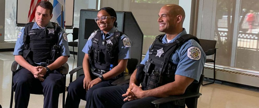 PHOTO: In this undated photo, Chicago Police officers are shown being interviewed. Pictured (from left) are Brendan Lyons, Ravyn Morgan, with Sergio Corona, their Field training officer.
