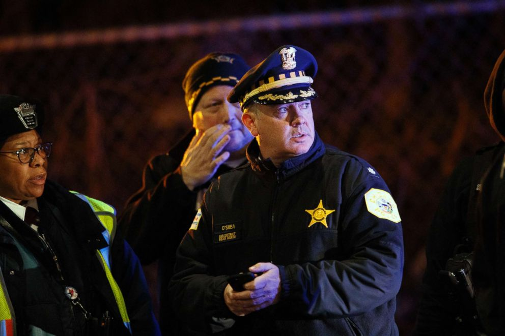 Police work the scene where two officers were killed after they were struck by a South Shore train near 103rd Street and Dauphin Avenue in Chicago, Dec. 17, 2018.