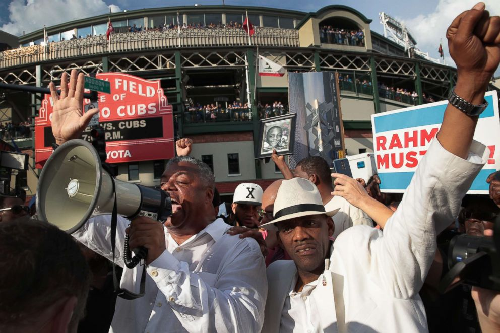PHOTO: Demonstrators protest in front of Wrigley Field before the start of the matchup between the Cubs and the Padres, Aug. 2, 2018, in Chicago, Illinois.