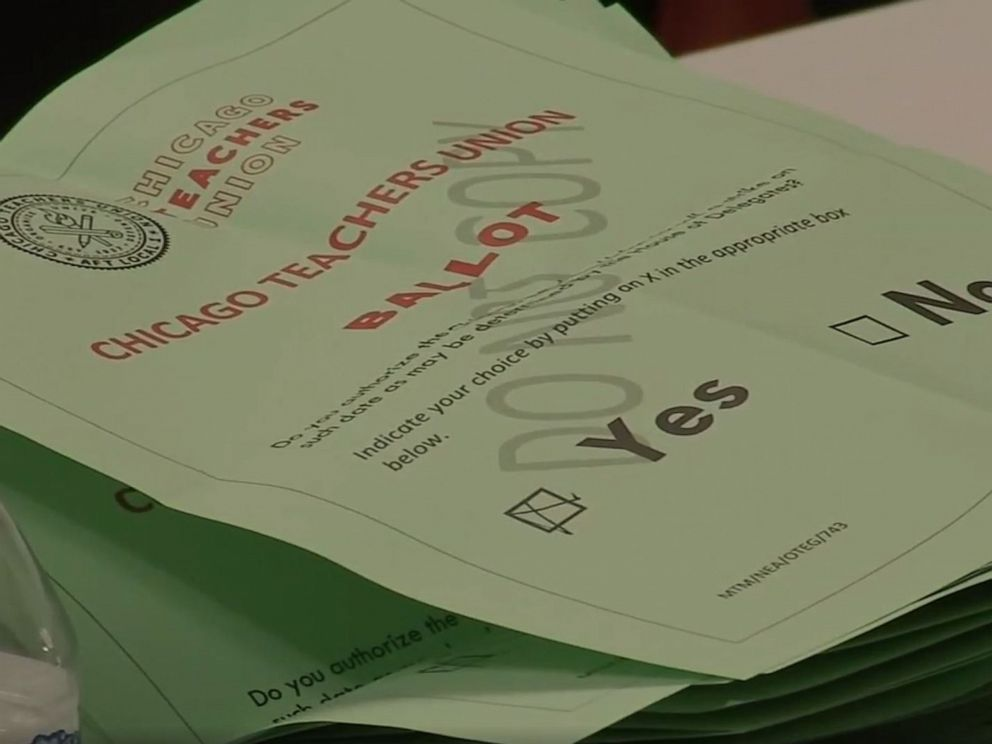 PHOTO: A strike authorization ballot is collected by the Chicago Teachers Union, Sept. 26, 2019.