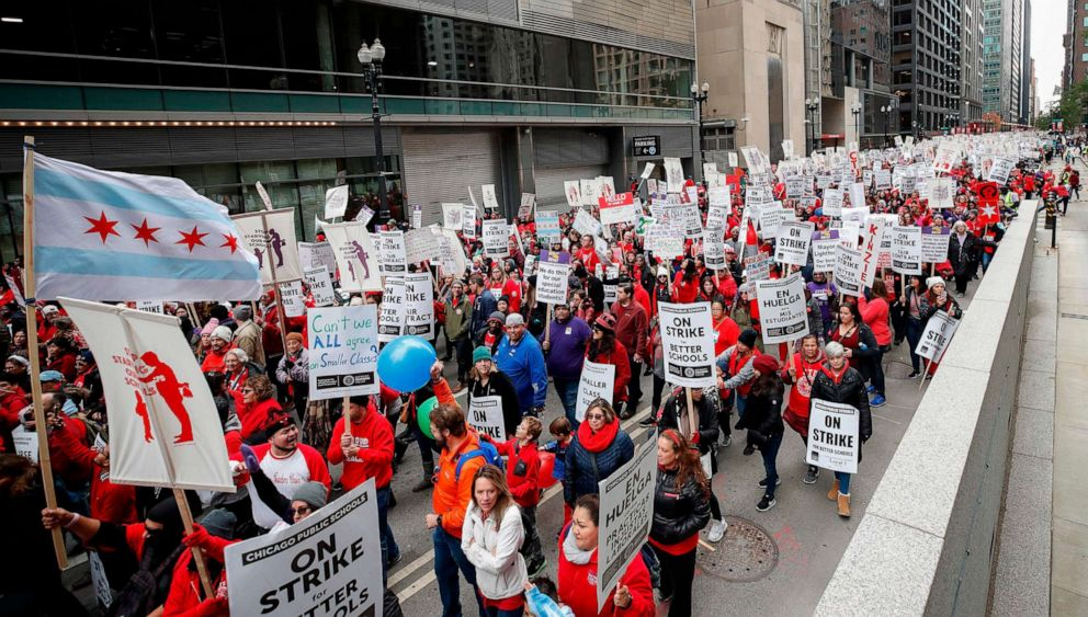 PHOTO: Teachers and supporters gather for the rally on the first day of strike by the Chicago Teachers Union, Oct. 17 2019 in Chicago.